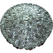 Pressed Glass elegant clear crystal/glass candy or mints dish with lid, divided into three sections, covered, 20th c.