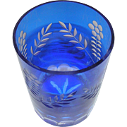 Vintage Godinger glass crystal bar glass in blue, cut, 20th c.