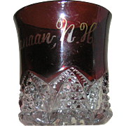 Flashed Ruby glass sourenir or commemorative glass cut with handle marked Canaan, NH