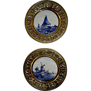 Vintage Delft Tiles in matching, round, brass, frames, mid. 20th c.