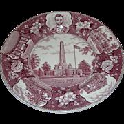 Commemorative plate, Lincoln's Tomb, Springfield Ill, Historical Staffordshire