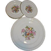 Ambrosia 22K plates, 1 dinner and six smaller plates, Exc.
