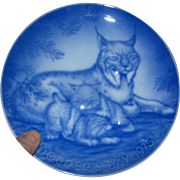 Mother's Day Commemorative Plate, 1975, Royal Winter China, Made in West Germany, Linx and cub