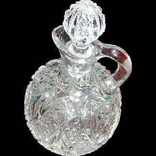 Vintage glass cruet, with pontil, original stopper
