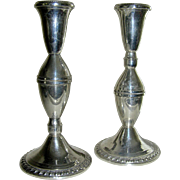 Sterling weighted candlesticks, marked, VG, middle 20th c.