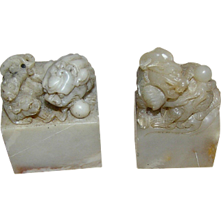 Foo Dogs, pair, soapstone, highly detailed, miniatures probably meant for seals, circa 1900