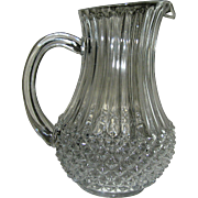 Pressed Glass pitcher, crysral clarity, convenient size, mid. 20th c.