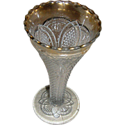 Trumpet Vase, EAPG, clear with a flashed gold top. EXC. Rare!