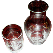 Tumbler with matching glass in a floral motif, mid 20th c.