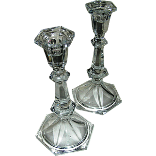 Candlesticks, pair, matching, colonial, crystal clear, small, Exc.