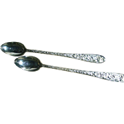 Iced Tea Spoons, Narcissis Pattern, National Silver Co. Exc.