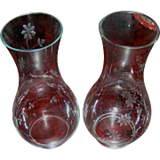 "Pair Hurricane shade lamp inserts 3"" in diameter-9.5"" tall, flower motif on clear glass"
