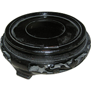 Oriental, carved, wooden, shellaced, stand for an oriental bowl with a bottom rim measuring 4 3/8 incches. Exc!