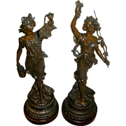 Companion Pair Art Nouveau Spelter Statues, all original, circa 1895, Very Good Condition!