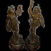 Companion Pair Art Nouveau Spelter Statues, all original, circa 1895, Very Good Condition!