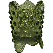 Fenton Toothpick Holder, hobnail, signed, olive green, Exc.!
