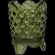 Vintage Toothpick Holder, Fenton hobnail, signed, olive green, Exc.!