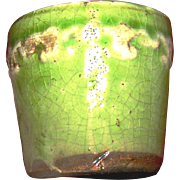 Vintage Majolica ink pot with a light green glaze, darkened interior and a Fleur de Les motiv
