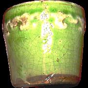 Vintage Majolica ink pot, light green glaze, flyer de les motif