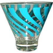Vintage kitchen glassware, turquoise blue swirl