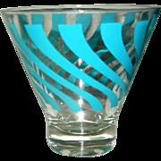 Vintage kitchen glassware, turquoise blue swirl