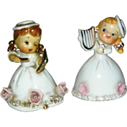 Set of two ceramic Christmas Angels, Made in Japan, label sales Wales, Excellent!