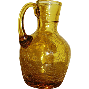 Crackle glass, hand blown, yellow, pitcher with applied handle, exc!
