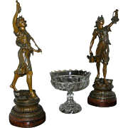 Antique Statues, Art Nouveau, spelter (gun metal), circa 1900, all original, RARE!