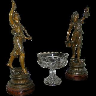 Antique Statues, Art Nouveau, spelter, circa 1900, all original