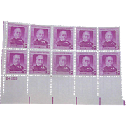 Lot 10 stamps:Samuel Gompers, 1950, gum on the back, mint