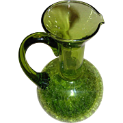 Tall crackle glass pitcher, vintage