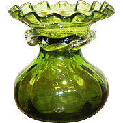 Art Glass Vase, green with clear applied decoration, handle blown, Mint