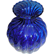 Blue cobalt vase, bulbous ribbed glass form, in a bright ultrmarine blue