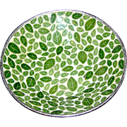 Mosaic bowl marked Kraftware, large, medley of green leaves
