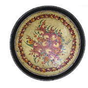 Antique tole tray, folk art, Pennsylvania German-Dutch, Lancaster country, round, large, hand painted
