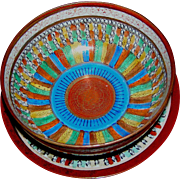 Bowl and Under-plate in Thousand Faces, Made in Japan, circa 1930