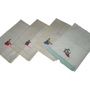 Set of four, hand embroidered napkins with matching decoration of Indian musicians