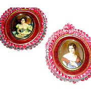 Pair glass, portraits by Cameo Creations, mid-century