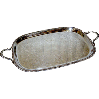 Silver-plate tray by Crescent, no monograms, incised motif with rope edging