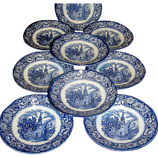 Vintage saucers Old North Church, historic colonial scenes, Liberty Blue