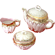 Vintage Childrens tea set, porcelain covered tea pot, covered sugar and creamer, early