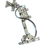 Rhinestone pin in the shape of early stick telephone, mid 20th c.