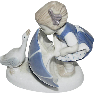 Blue and white Porcelain figurine of a girl and a goose, mid-century