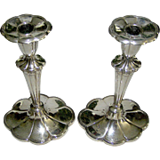 Vintage silverplate candlesticks, the pair by Barbour Silver