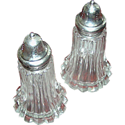 Vintage salt and pepper, large with chrome lids