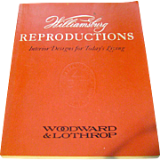 Vintage book, Williamsburg Reproductions, Woodward & Lothrop, 1973