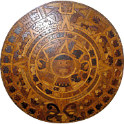 Vintage Wooden Aztec Calendar, made is Mexico, Jicaro del Aquila, mid 20th century