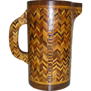 Vintage, rustic, folk art, treen, wooden, pitcher inlaid with contrasting woods