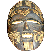 Vintage, ethnographic, tribal wooden mask, handmade, hand carved
