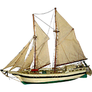 Vintage Wooden Ship Model, handmade, early 20th c.